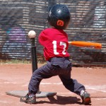 Tee ball player at the plate