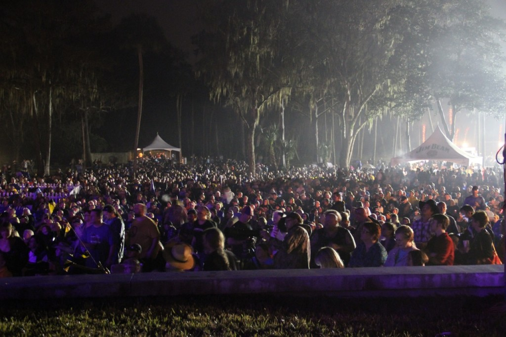 View of the record breaking crowd attending Willie Nelson's concert at Silver Springs State Park