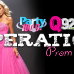 Operation Prom Dress with Q92 and Party 100.9 Logos